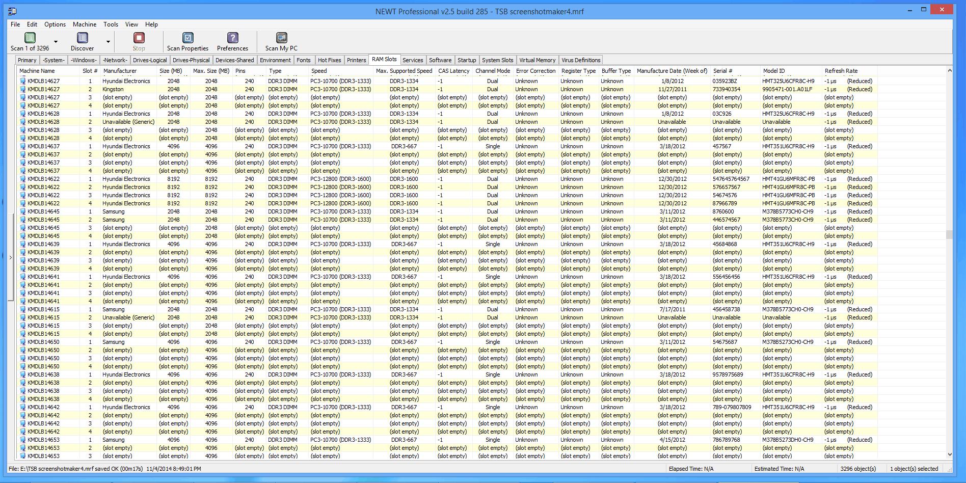 Windows Memory Serial Numbers